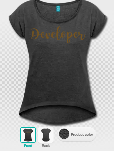 Developer t-shirt in t-shirt designer, with gold glitz special flex printing on heather black women's rolled sleeve boxy t-shirt