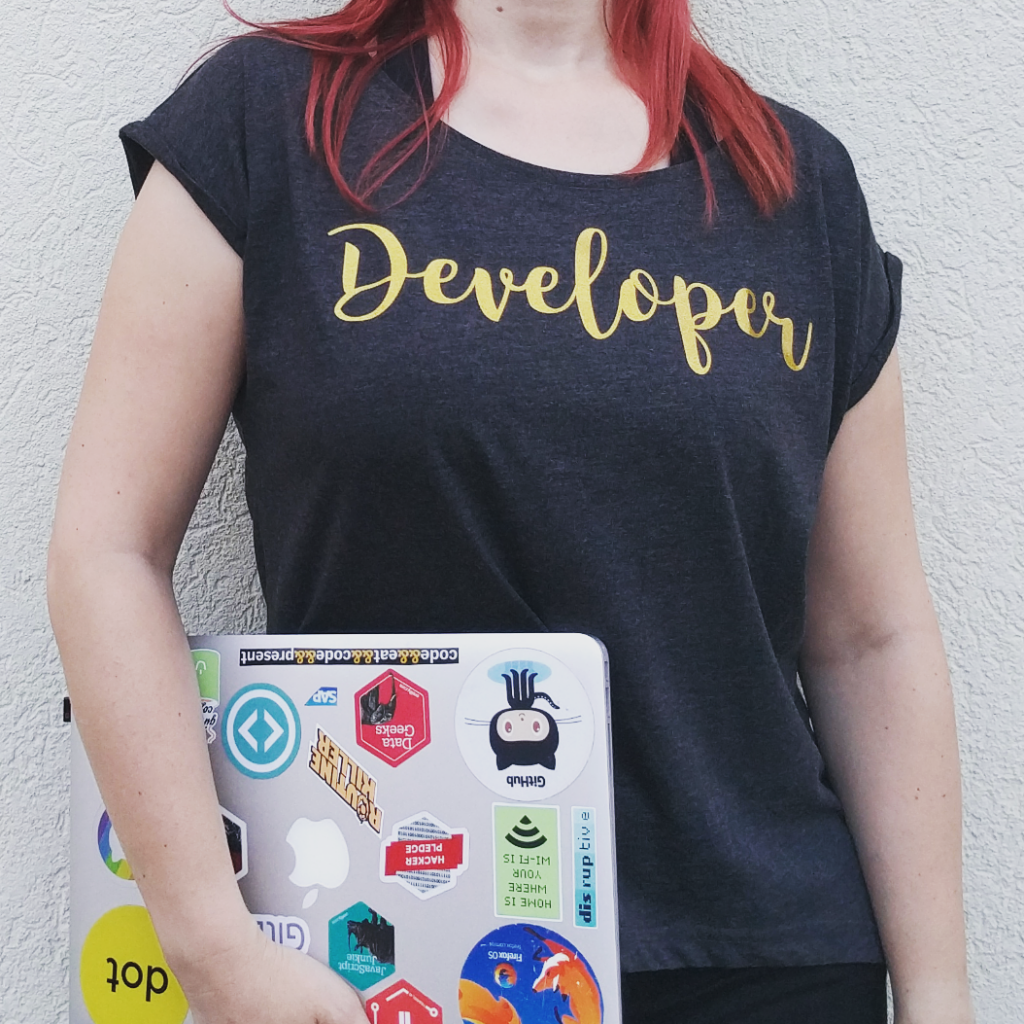 Developer t-shirt, with gold glitz special flex printing on heather black women's rolled sleeve boxy t-shirt