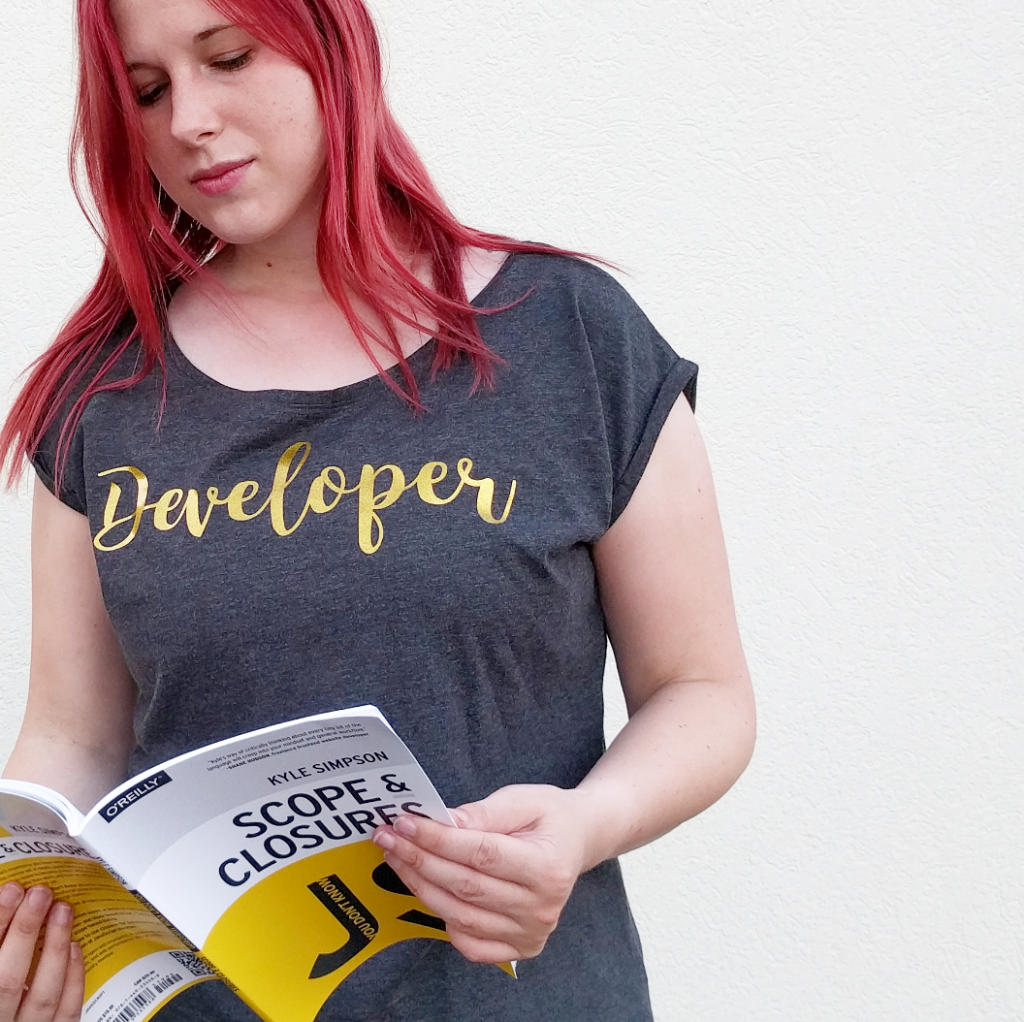 Cute, feminine, nerdy developer shirt by Denise Nepraunig